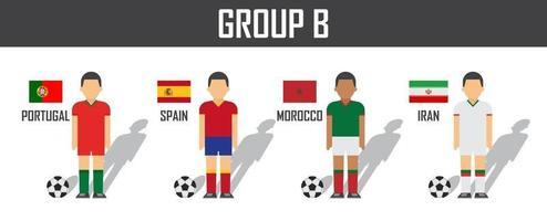 equipo de fútbol copa 2018 grupo b. futbolistas con uniforme de camiseta y banderas nacionales. vector para el torneo del campeonato mundial internacional.