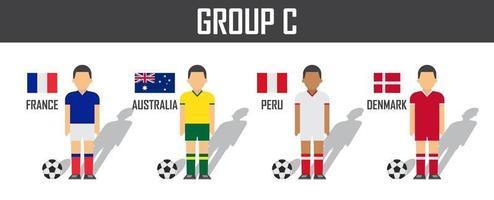 copa de fútbol 2018 equipo grupo c. futbolistas con uniforme de camiseta y banderas nacionales. vector para el torneo del campeonato mundial internacional.