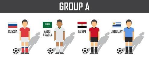 copa de fútbol 2018 equipo grupo a. futbolistas con uniforme de camiseta y banderas nacionales. vector para el torneo del campeonato mundial internacional.
