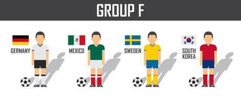 copa de fútbol 2018 equipo grupo f. futbolistas con uniforme de camiseta y banderas nacionales. vector para el torneo del campeonato mundial internacional.