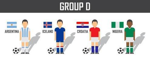 copa de fútbol 2018 equipo grupo d. futbolistas con uniforme de camiseta y banderas nacionales. vector para el torneo del campeonato mundial internacional.