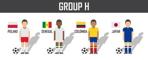 copa de fútbol 2018 equipo grupo h. futbolistas con uniforme de camiseta y banderas nacionales. vector para el torneo del campeonato mundial internacional.