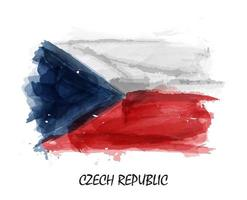 Realistic watercolor painting flag of Czech republic . Vector .