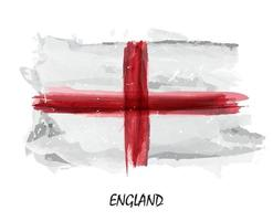 Realistic watercolor painting flag of England . Vector .