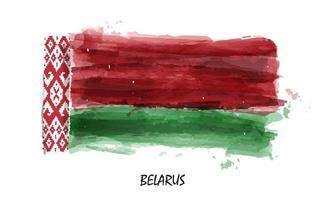 Realistic watercolor painting flag of Belarus . Vector .
