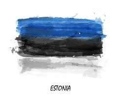 Realistic watercolor painting flag of Estonia . Vector .