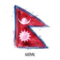 Realistic watercolor painting flag of Nepal . Vector .