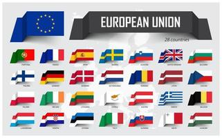 European Union . EU and membership . Association of 28 countries . Floating paper flag design on Europe map background . Vector .
