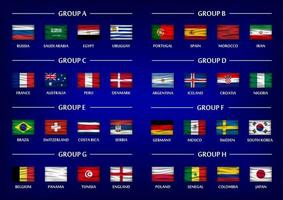 Soccer cup team group set . Realistic wavy national flags on gradient blue color background . Vector for international world championship tournament 2018 .