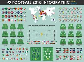 Football or Soccer cup infographic elements  footballer , jersey , map , flag , etc  . Vector for international world championship tournament 2018 . Flat design .