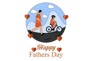Greetings and presents for Fathers Day in flat lay styling vector