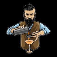 bartender hombre personaje, vector premium