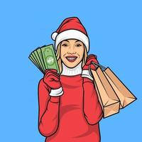 character Christmas Shopping Pin,premium vector