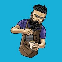 character barista man,coffee cappuccino premium vector