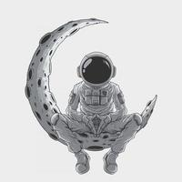 astronauts sitting on the moon premium vector