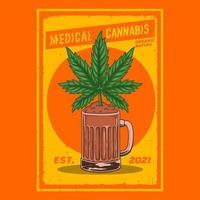cannabis plants in beer glasses,premium vector