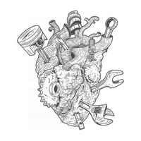human heart with embedded workshop equipment,premium vector