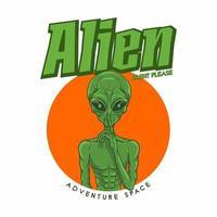 illustration alien asking silence premium vector