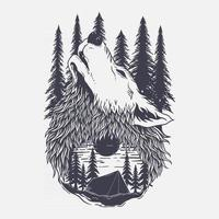 illustration of mauntain, forest and wolf vector