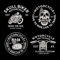 Bikers badges emblems vector icons. classic, logo. Premium Vector