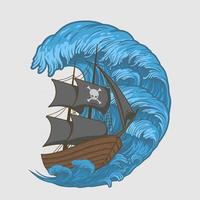 Ilustración piratas nave en olas vector premium