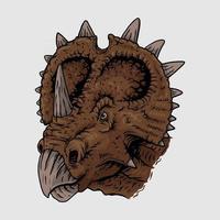 Drawing head triceratops mascot,illustrasion Premium Vector