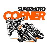 illustration Supermoto Corner.premium vector