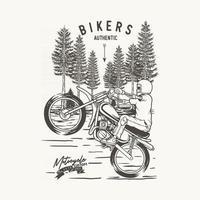 illustration Stunt motorcycle  in forest,premium vector
