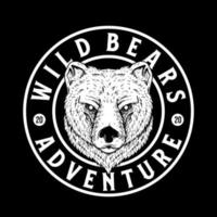 The emblem with wild bear. Print design for t-shirt vector