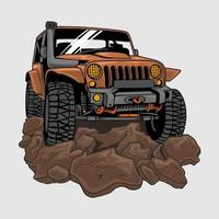 vehicle offroad drive on dirt or mud,illustration Premium Vector