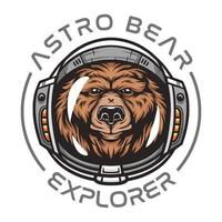 Astronaut bear,wild animal wearing space suit wild animal illustration for t-shirt Premium Vector