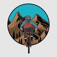 vector insignia de ciclismo de montaña cuesta abajo, etiqueta con el ciclista en una bicicleta. ilustración cuesta abajo vector premium