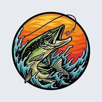 Fishing for salmon with fishing rod Premium Vector