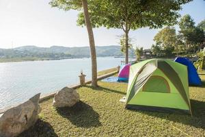 Tent camping on a lake photo