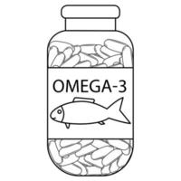 Fish oil. Outline bottle with fish oil capsules. Omega 3 vitamin capsules. Bottle with Omega 3 tablets in outline style. Vector