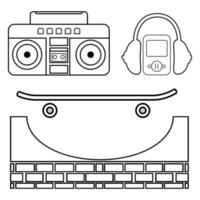 Skateboarding icon set. Vector illustration with  headphone, skateboard, boombox, hat etc