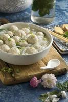 Composition of delicious bakso bowl photo