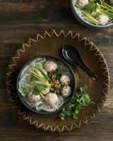 Top view delicious bakso bowl composition photo