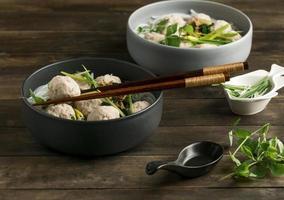 High angle delicious bakso bowl composition photo