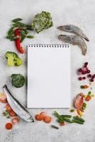 Assortment frozen food table.Composition frozen food table photo