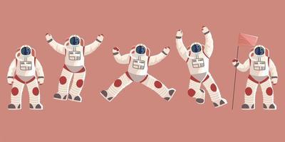 space explorer, cosmonaut or astronaut in spacesuit characters vector