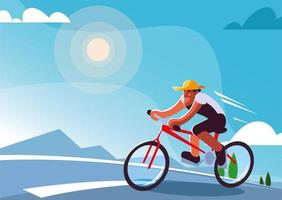 man riding bicycle outdoors, healthy lifestyle vector