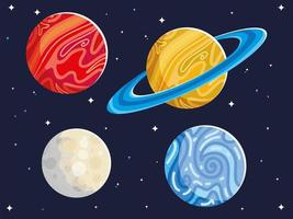 space astronomy galaxy planets and moon vector