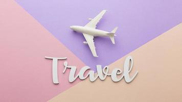 Travel concept with white plane photo