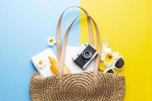 Top view Travel concept with bag photo