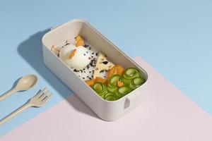 composición de alto ángulo de caja bento japonesa foto