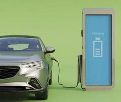 carga de coche eléctrico en la estación foto
