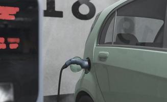 Cerrar la carga del modelo de coche eléctrico foto
