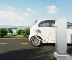 Carga de coches eléctricos en la estación de cerca foto