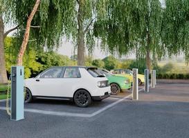 Coches eléctricos 3D en estacionamiento. foto